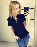 Молодежная летняя футболка со шнуровкой на груди черного цвета, фото 1