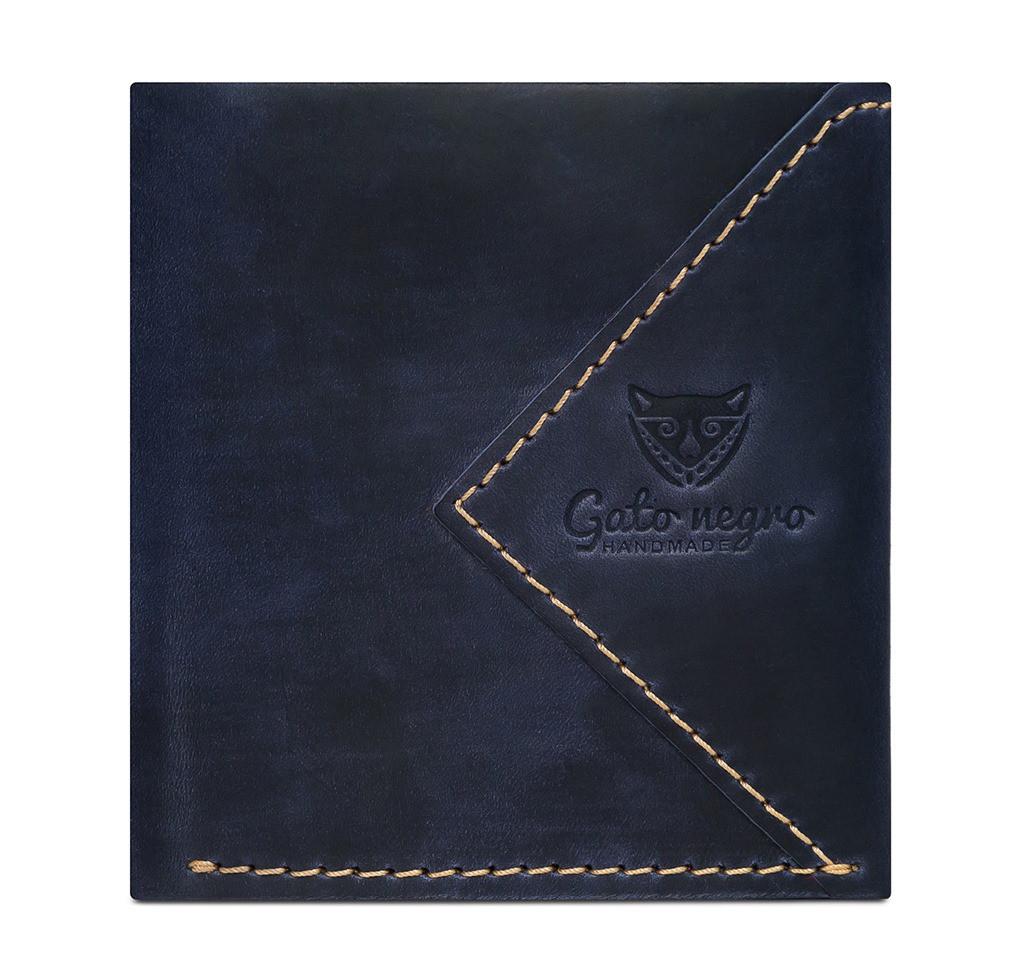ae1b46ac7d3e Кожаный кошелек ручной работы Gato Negro Compact мужской, синий (мужские  кошельки из натуральной кожи)