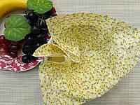 Небольшой отрез ситца для рукоделия Желтый в белый цветочек  20*25 см