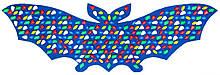 Масажний килимок-масажер з кольоровими каменями «Летюча Миша» 143х50 см