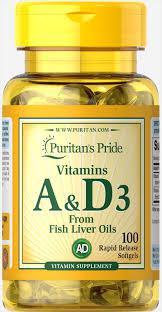 Вітамін А і Д Puritan's Pride Vitamins A & D 5000/400 IU 100 Softgels