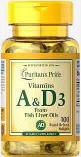Вітамін А і Д Puritan's Pride Vitamins A & D 5000/400 IU 100 Softgels, фото 2