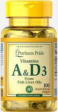 Витамин А и Д Puritan's Pride Vitamins A & D 5000/400 IU 100 Softgels