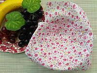 Небольшой отрез ситца для рукоделия Розовый  цветочек на белом фоне  20*25 см