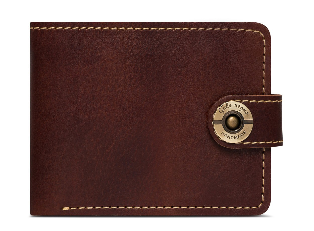 52837cbc54bf Кожаный кошелек ручной работы Gato Negro Classic+ мужской, коричневый (мужские  кошельки из натуральной кожи)