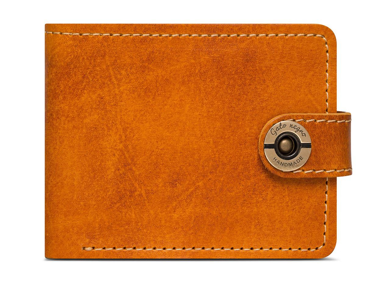 38bf40d0bf30 Кожаный кошелек ручной работы Gato Negro Classic+ мужской, рыжий (мужские  кошельки из натуральной кожи)