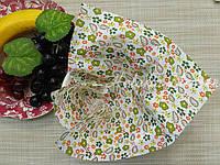 Небольшой отрез ситца для рукоделия Зеленые цветы и турецкие огурцы 20*25 см