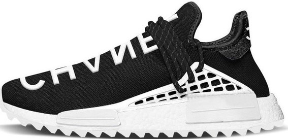 Мужские кроссовки adidas x Pharrell Williams Human Race NMD (Адидас Фарель) черно-белые