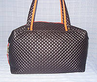 Спортивная сумка 12430 черная стеганный текстиль, фото 1