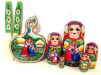 Подарочные наборы оригинальные: Матрешки 5в1 + кухонная доска и лопатки в украинском стиле 3