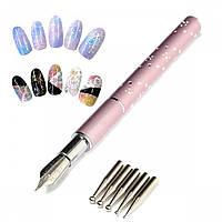 Универсальная перьевая ручка для дизайна ногтей с 5 насадками дотсами