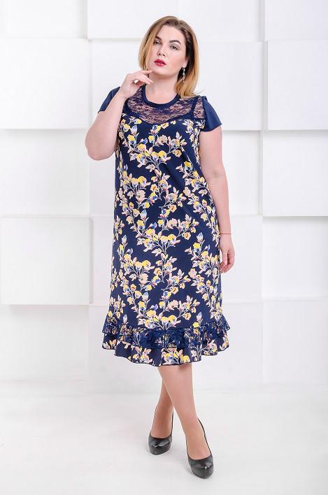 4e988200927dbad Красивое летнее платье большого размера Венеция - софт желтые цветы (50,)