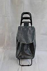 Сумка-тележка хозяйственная серая с узором буква на металлических колесах