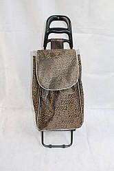 Хозяйственная тележка сумка коричневого цвета на металлических колесах