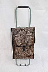 Коричневая тележка-сумка на металлических колесах складываемая