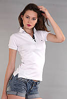 Женская классическая футболка поло с коротким рукавом с воротником Th 85 белого цвета