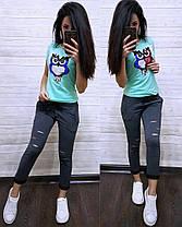 """Модный летний костюм """"Совушка"""", футболка и брюки 7/8 размеры от 42 до 50, фото 3"""