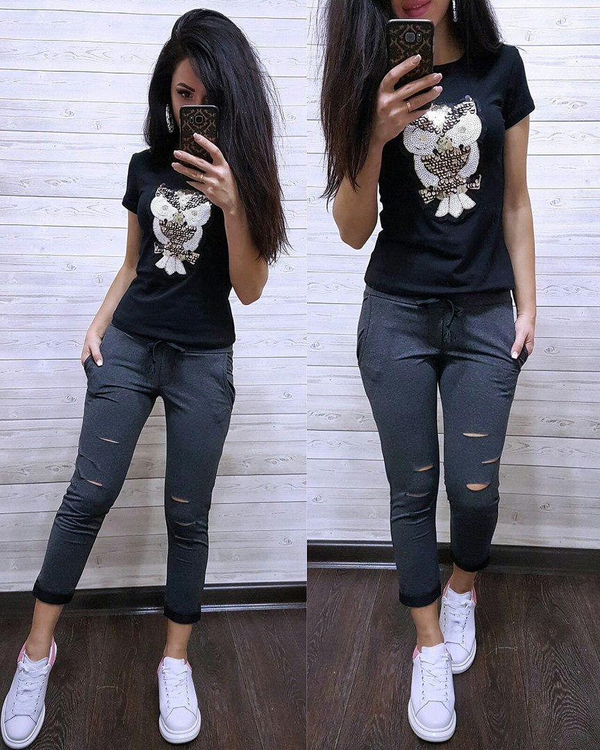"""Модный летний костюм """"Совушка"""", футболка и брюки 7/8 размеры от 42 до 56"""
