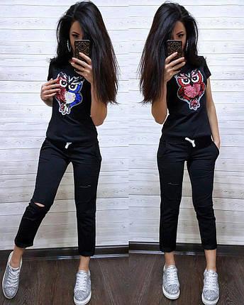 """Модный летний костюм """"Совушка"""", футболка и брюки 7/8 размеры от 42 до 50, фото 2"""