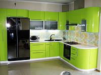 Кухня под заказ BLUM-013 Салатовые фасады