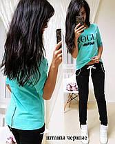 Модный летний костюм VOGUE, футболка со змейкой сзади и брюки, размеры от 42 до 50, фото 2
