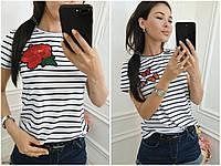 Полосатая футболка с вышивкой СЦ29895, фото 1