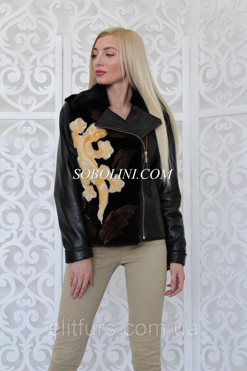 Кожаная куртка с норкой под заказ