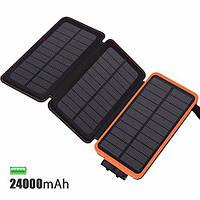 Зарядное устройство FEELLE Solar Charger 24000mAh Black & Orange (SC-0010) 3 солнечные панели, фото 1