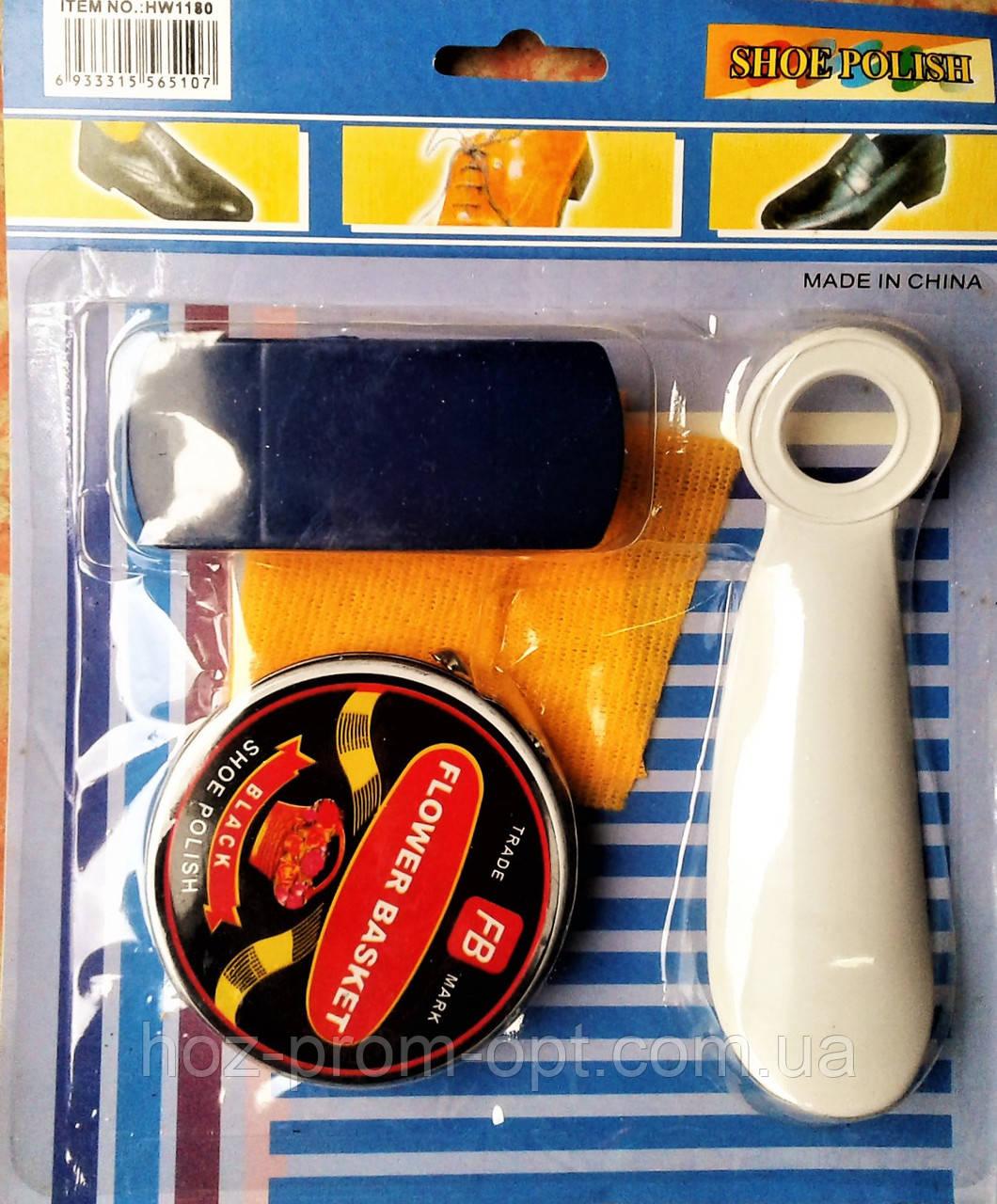 Набір для догляду за взуттям: Крем для взуття, ложка, щітка, ганчірка.