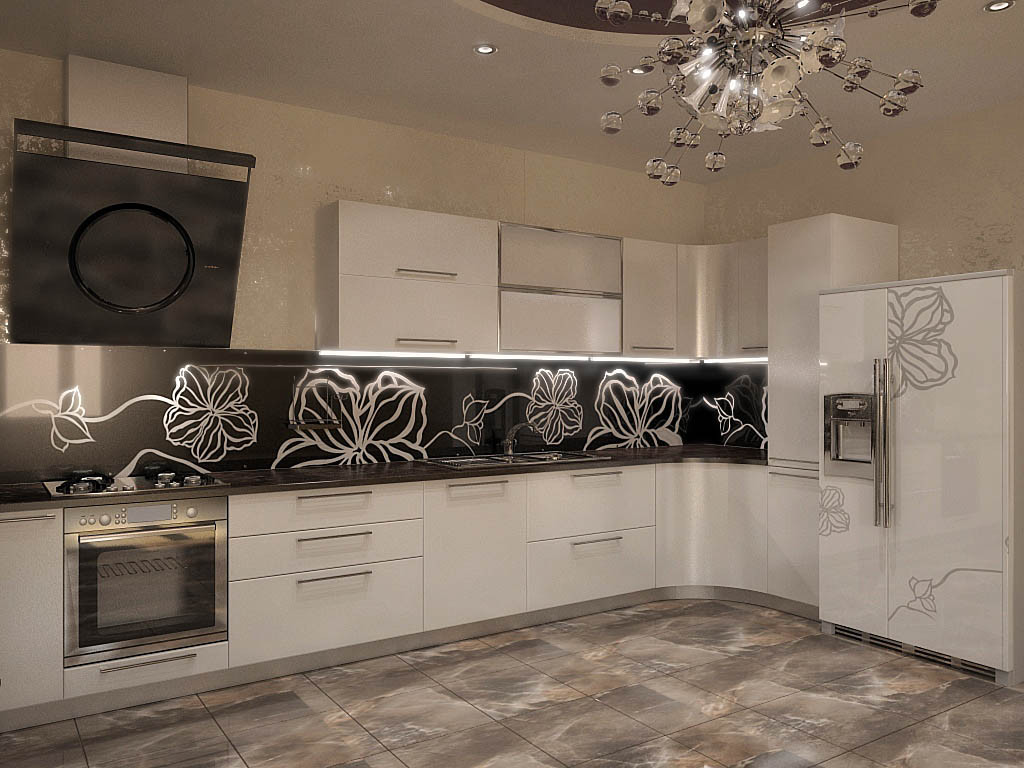 Белая кухня с радиусными элементами