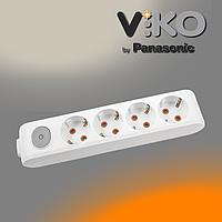 Колодка на 4 гнізда з заземленням та вимикачем Multi-let VIKO