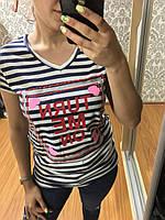 Полосатая футболка с надписью 42-48рр, Турция, хлопок 100% Синяя полоска