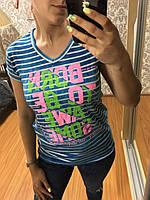 Женская футболка полоска с надписью 42-48рр, Турция, хлопок 100%