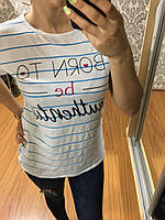 Красивая полосатая футболка с надписью 42-48рр, Турция