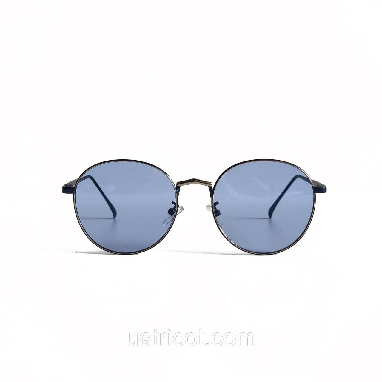 Мужские круглые солнцезащитные очки в синей оправе с голубыми линзами