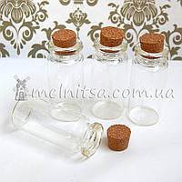 Бутылочка стеклянная с пробкой 50х22 мм, 12 мл