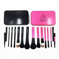 Набор кистей для макияжа 7 шт (черн/роз коробок)