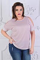 Женская красивая летняя футболка тонкой вязки люрекс с разрезами на плечах, полубатал и батал