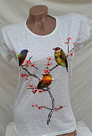 Женская футболка трикотажная Птицы  р42-46