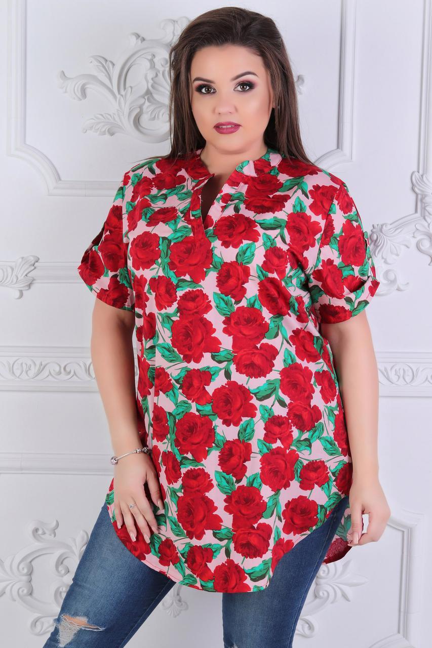 Красивая летняя туника блузка на короткий рукав с цветочным рисунком из роз