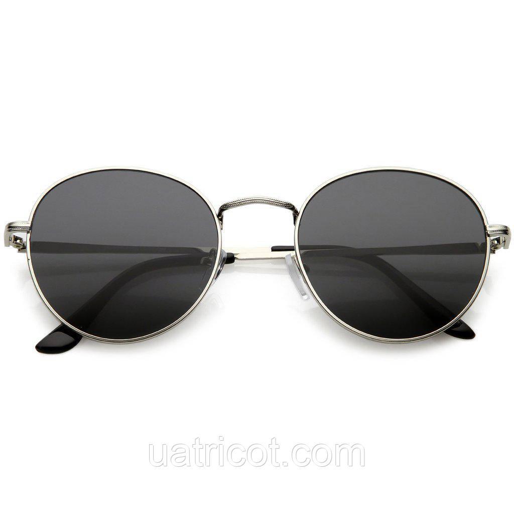 Мужские классические круглые солнцезащитные очки в серебряной оправе со смоки линзами