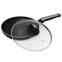 Сковорода 24см с крышкой и мраморным покрытием из штампованного алюминия Kamille (a4266MR)