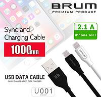 Кабель USB cable BRUM Classic U001i Lightning (2.1A) (1M) черный