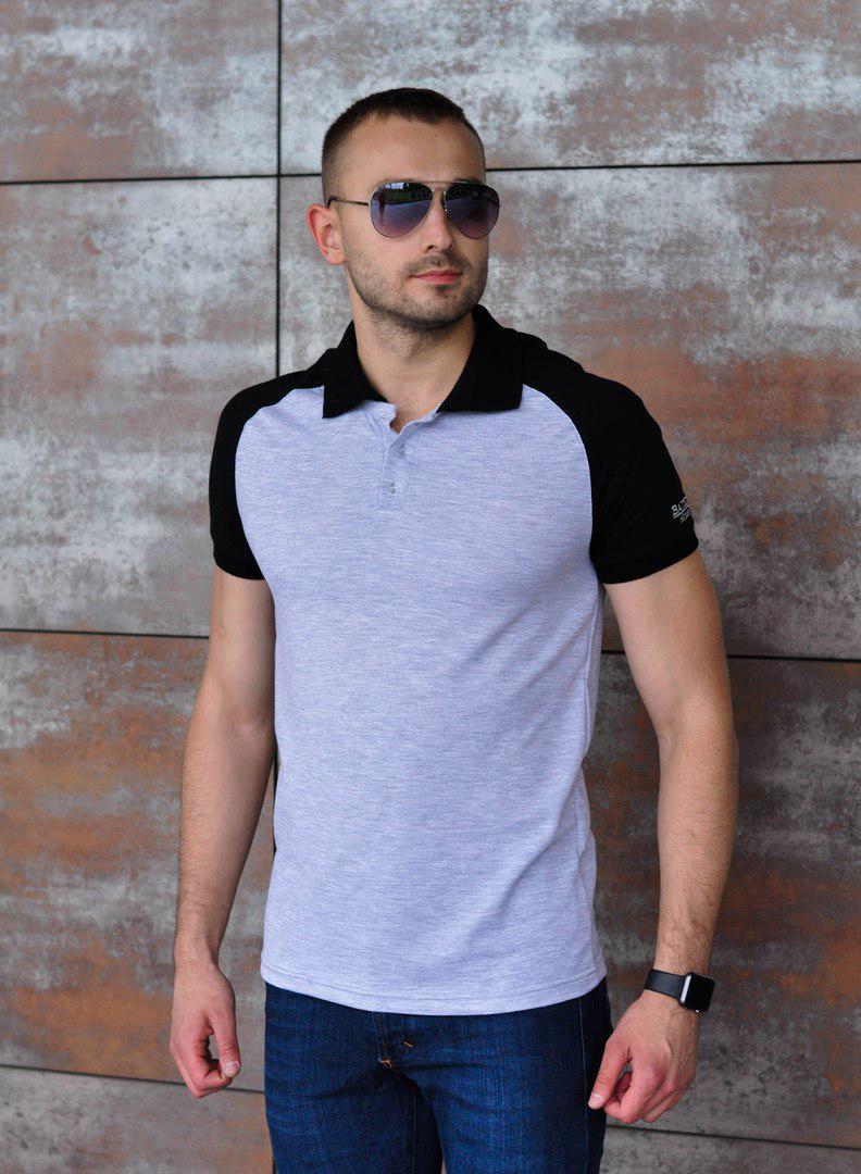 Серая мужская футболка-поло