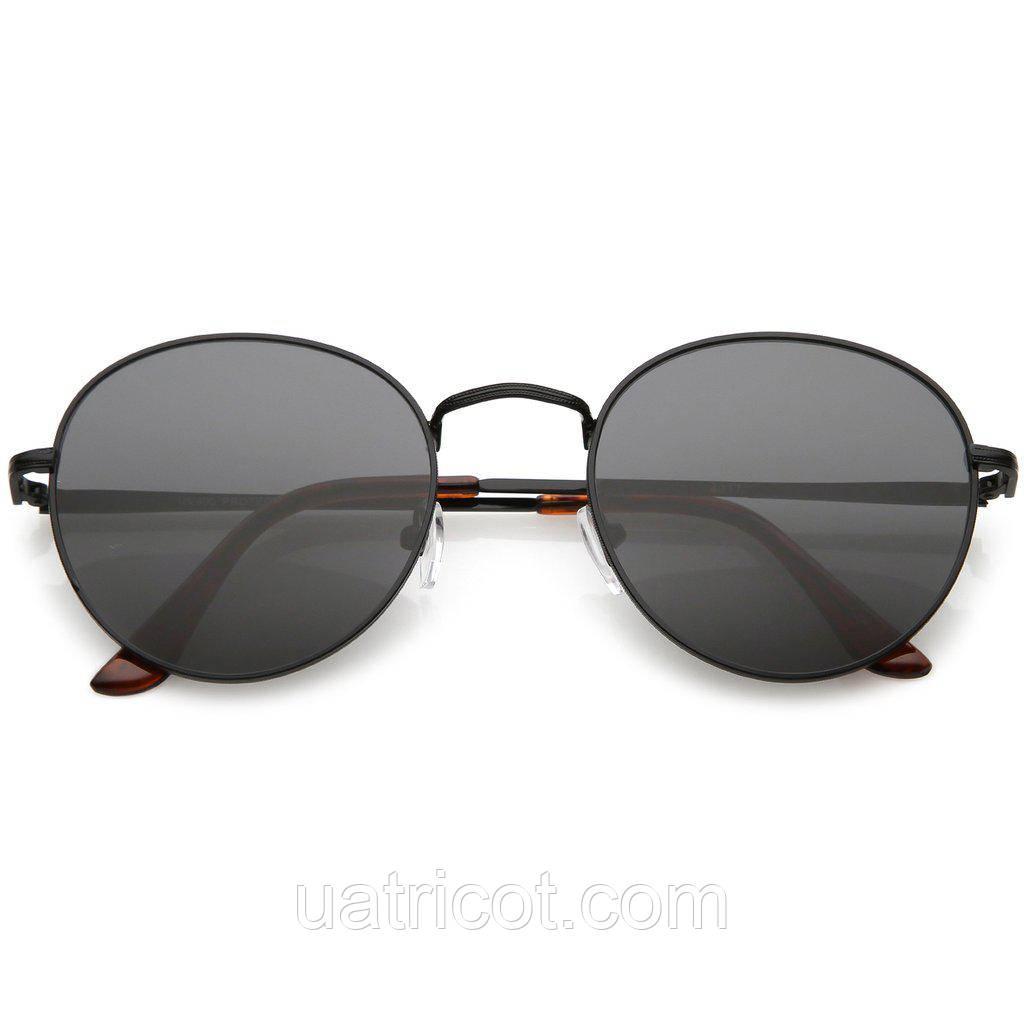 Мужские классические круглые солнцезащитные очки в чёрной оправе со смоки линзами