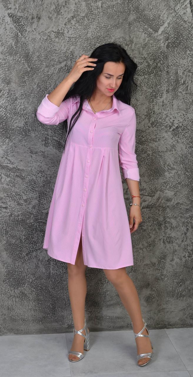 26bb3aa19f6 Клешное летнее женское платье-рубашка в розовую полоску  продажа ...