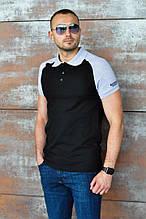 Черная мужская футболка-поло