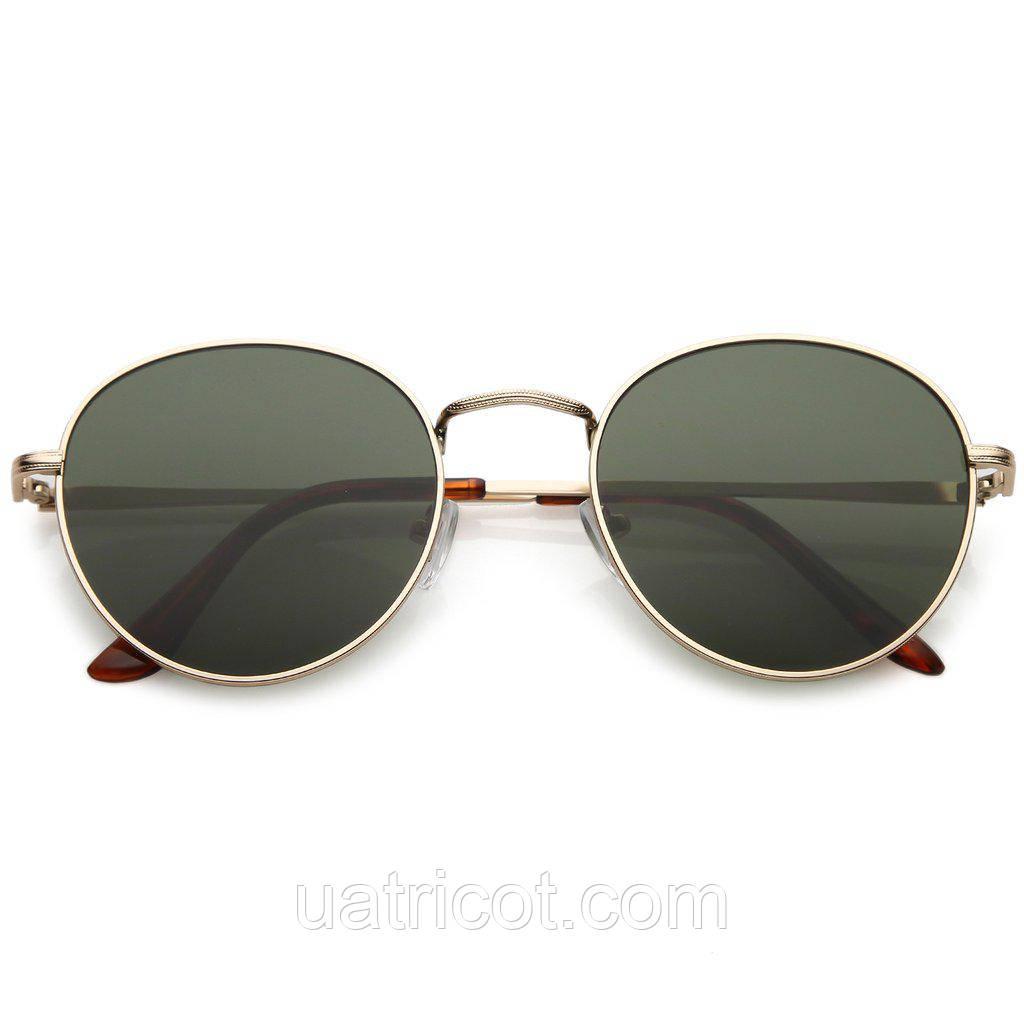 Мужские классические круглые солнцезащитные очки в золотой оправе с зелёными линзами