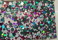 Камифубики конфетти для ногтей красные малиновые бирюзовые голубые зеленые белые №28