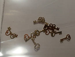 Фигурки для дизайна ногтей металлические ключики